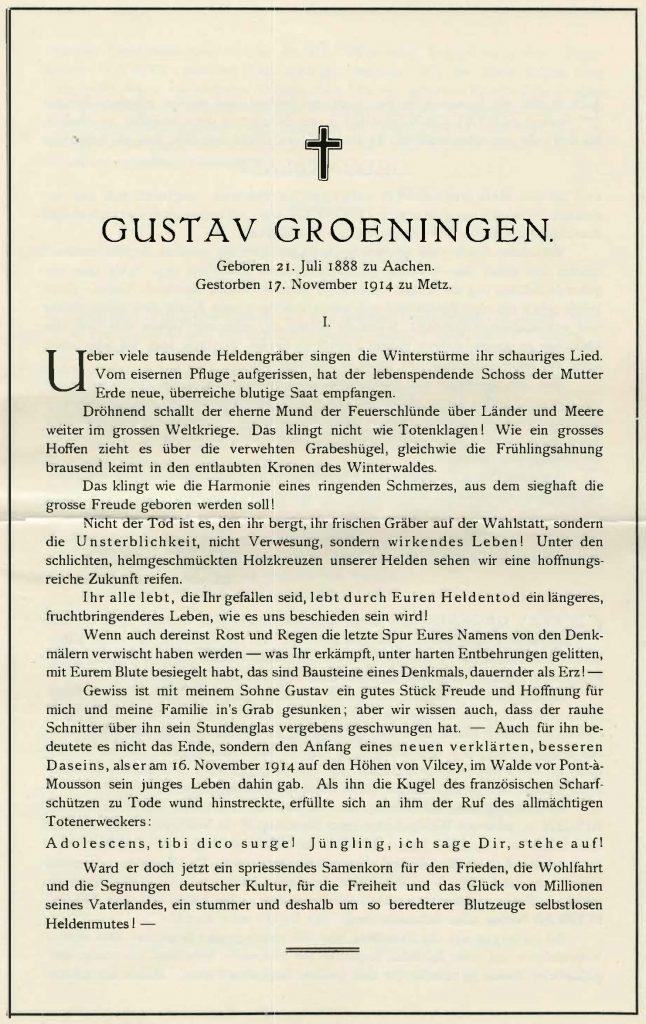 Gedenkheft Gustav Groeningen
